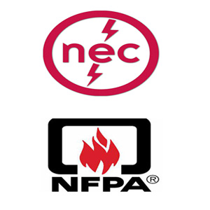 NEC and NFPA electrical code logos